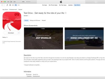 Dodge Test Drive app